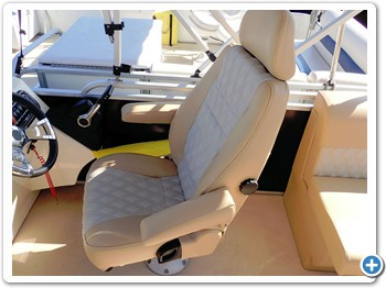 The helm has a comfortable seat, has full instrumentation,  GPS chartplotter and stereo.
